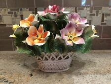 CAPODIMONTE Large Vintage Centerpiece Flower Basket MADE IN ITALY Multi-Color