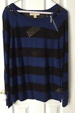 Michael Kors Long Sleeve Mesh Sweater Black And Blue Saphire Size L Nwt $120
