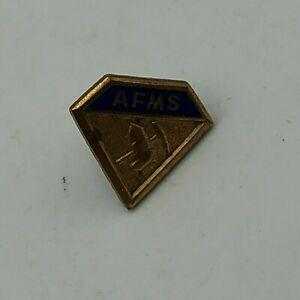 Antique AFMS American Fed Mineralogical Society Screw Back Lapel Pin Vtg   K3
