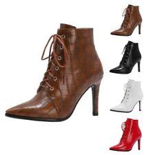 All Match Women's Pointy Toe Alligator Print Stilettos High Heel Ankle Boots D