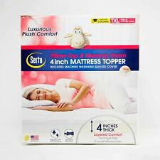 NEW Serta Pillow Top Memory Foam Mattress Topper - Removable - 4in