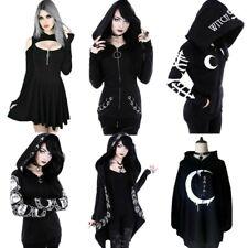 Women's Gothic Hooded Hoodie Sweatshirt Coat Swing Dress Victorian BLACK Clothes
