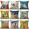 Oil Paintings Birds Cushion Cover Pillow Case Cotton Linen Sofa Car Home Decor