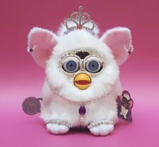 Custom Furby 1998 model 70-800 Bejewelled White Snowball neon blue eyes RARE