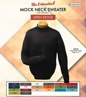 MEN'S BAGAZIO LONG SLEEVES KNIT MOCK NECK SWEATER, ASSORTED COLORS M - 5X NEW!