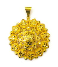 21K Yellow Gold Floral Design Middle Eastern Charm Necklace Pendant ~ 15.0g