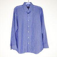 Hugo Boss Men's Sz Neck 16 32/33 Blue Striped Dress Shirt Work Business Career