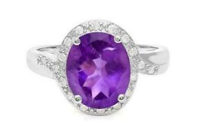 925 Silver Women's Oval Cut Purple Amethsyt & White CZ 3.30 CT Classic Halo Ring