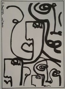Line Faces Abstrat Minimalist Art Drawing Illustration by L. Santos