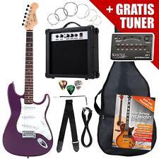 Pack Guitare Electrique Strat Single Coil Set Amplificateur Sac Accordeur Violet