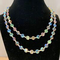 Vintage Aurora Borealis Necklace, Dbl. Strand Aspirin Nailhead Crystals