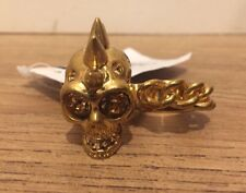 Alexander McQueen Spiked Skull & Chain Two Finger Ring Size 11 -13