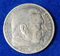 1936 WW2 German Coin E 5 Mark, Third Reich Swastika Reichsmark. Antique/Vintage