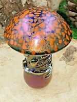 Neo Art Glass handmade orange iridescent mushroom paperweight ornament K.Heaton