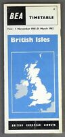 BEA BRITISH EUROPEAN AIRWAYS BRITISH ISLES AIRLINE TIMETABLE WINTER 1961/62 NO.1