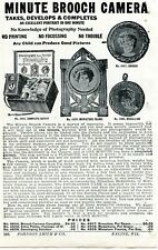 1929 small Print Ad of Minute Brooch Camera medallion, frame, complete outfit