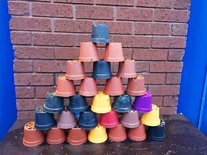 100 XPlant Pots 8 - 9cm Strong Plastic Round Flower Pot High Quality Used