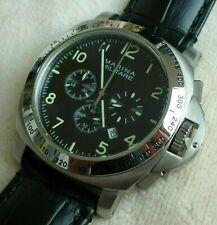 Parnis reloj hombre Marina Militare 44mm Luminor chronograph Miyota acero inoxidable cuero