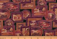 Pablo's Puzzles Hoffman Cotton Fabric By The Yard Purple Brown Gold Black #FA71