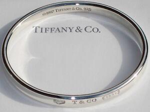 Tiffany & Co 1837 Sterling Silver Heavy Oval Concave Bangle Bracelet
