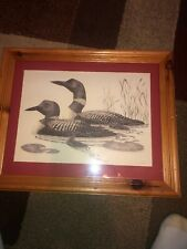 Vintage Frank Hulick Common Loon Family Lithograph, Signed, 22 x 18 1/2
