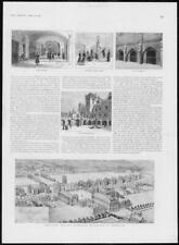 1902 Antiguo impresión Sussex Horsham nuevo el amor de hospital edificios claustro (225)