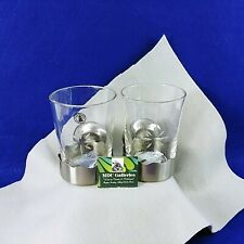 Toothbrush Holder Glass Cup Wall Mounted Stainless Steel Set of 2