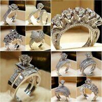 Women Engagement Wedding Ring Crystal Rhinestone White Gold Plated Rings Jewelry