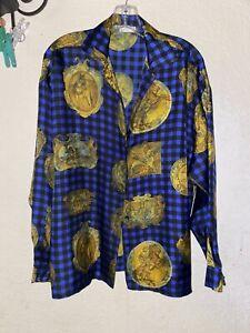 Vtg 90's VERSUS GIANNI VERSACE Blue Black Baroque Medusa Shirt FLAWED 30 / 44