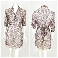 Womens Transit Par-Such 100% Silk Dress Printed Sheer Short Sleeve Size 3 / UK12