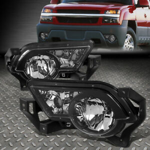 FOR 02-06 CHEVY AVALANCHE 1500 2500 CHROME/CLEAR BUMPER FOG LIGHTS W/CLADDING