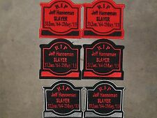 Jeff Hanneman Memorial Tombstone patch...ACDC, Iron Maiden, Anthrax, Testament