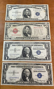1953 & 1963 Five Dollar Red Seal & Blue Seal 1935 & 1957 Certificate US Bills