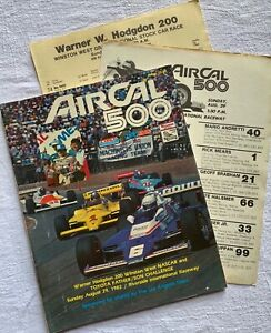 1982 Riverside AirCal 500 CART/PPG Indy Car Races Official Program w/Extras