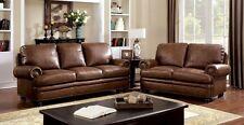 Dark Brown Nailhead Trim Plush Cushion Leather Sofa Love seat Transitional 2 pc