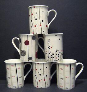 A SET OF SIX 6 DATA ABSTRACT PANAMA FINE BONE CHINA MUGS CUPS BEAKERS TO CLEAR