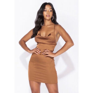 Brown satin mini dress featuring cowl neck. Sizes 6-12. True to size.