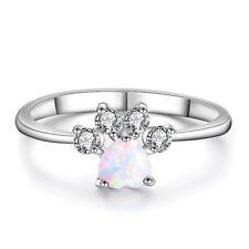 Heart Cut White Fire Opal Ring White Gold Cute Dog Cat Footprint CZ Wedding Band