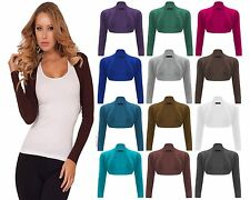 New Ladies Plain Long Sleeves 100%Cotton Ribbed Bolero Shrug Summer Top