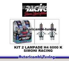 KIT 2 LAMPADE EFFETTO XENON LUCE BIANCA H4 12V HS4 6000K HID STYLE SIMONI RACING