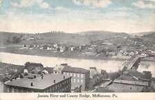 Mifflintown Pennsylvania Juniata River County Bridge Antique Postcard K16356