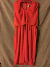 ASOS Halterneck Red Pencil Dress Low Plunge V-Neck Blouson Waist Party Size 18