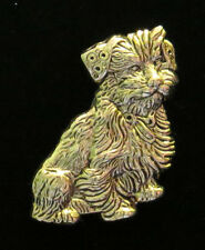 Border / Norfolk Terrier Pin Brooch 24 Karat Gold Plate Dog Man's Best Friend