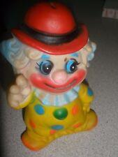 Peace Sign Clown Bank Hard Plastic Retro 1960's Vintage Toy Piggy Bank