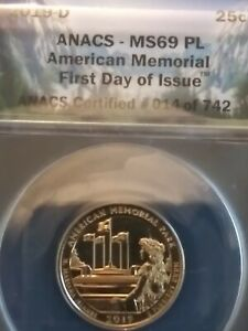 """2019-D Quarter (""""FIRST-DAY-OF-ISSUE"""") ANACS 69 PROOFLIKE.Highest Graded ON EBAY!"""