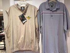 NEW 2xl Footjoy Khaki Performance Windshirt Vest Golf & Used Footjoy Polo Shirt