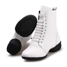 Girls Women Leather Jazz Dance Boot Shoes Lace Up Sport Dancing Shoes Soft Sole