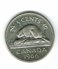 1966 Canadian Circulated Elizabeth II Five Cent Coin!