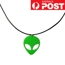 90s NEON GREEN ALIEN Acrylic Space Galaxy Pendant Choker Necklace