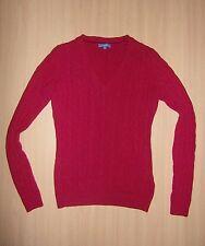 Damen Mädchen Strick Pullover Oberteil MONTEGO Gr 34 36 S weinrot Top Lammwolle